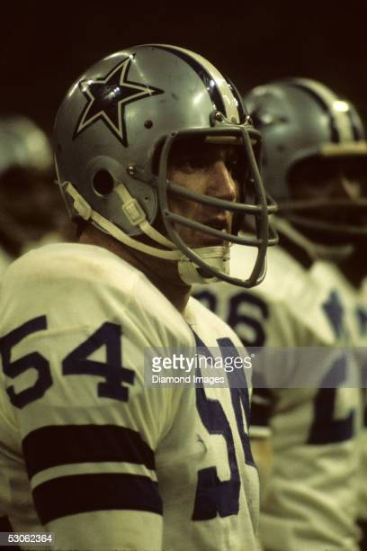 Linebacker Chuck Howley of the Dallas Cowboys on the sidelines during a game on December 18 1971 against the St Louis Cardinals at Texas Stadium in...
