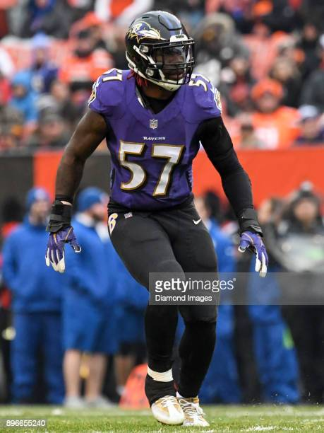 Linebacker CJ Mosley of the Baltimore Ravens drops into pass coverage in the second quarter of a game on December 17 2017 against the Cleveland...