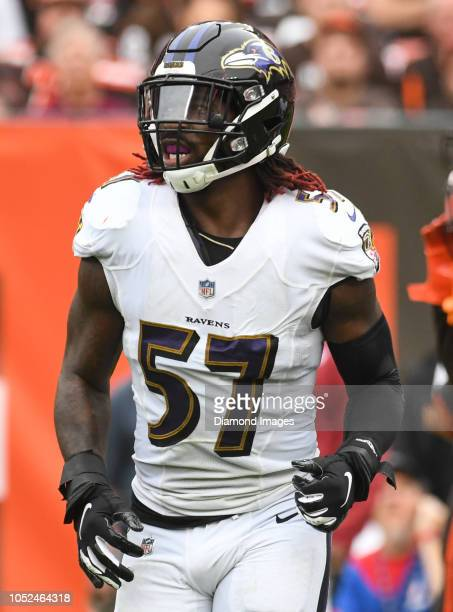 Linebacker CJ Mosley of the Baltimore Ravens walks off the field in the second quarter of a game against the Cleveland Browns on October 7 2018 at...