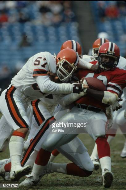 Linebacker Clay Matthews of the Cleveland Browns hits running back Gerald Riggs of the Atlanta Falcons in Atlanta FultonCounty Stadium on November 18...