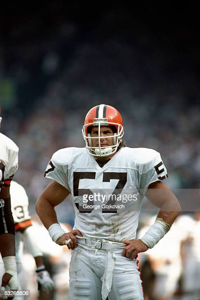 Linebacker Clay Matthews of the Cleveland Browns on the field during a game against the Houston Oilers at Municipal Stadium on October 29 1989 in...