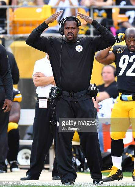 Linebacker coach Joey Porter looks on during the game against the Cincinnati Bengals at Heinz Field on October 22 2017 in Pittsburgh Pennsylvania