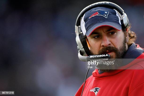 Linebacker coach Matt Patricia of the New England Patriots looks on against the Baltimore Ravens during the 2010 AFC wildcard playoff game at...