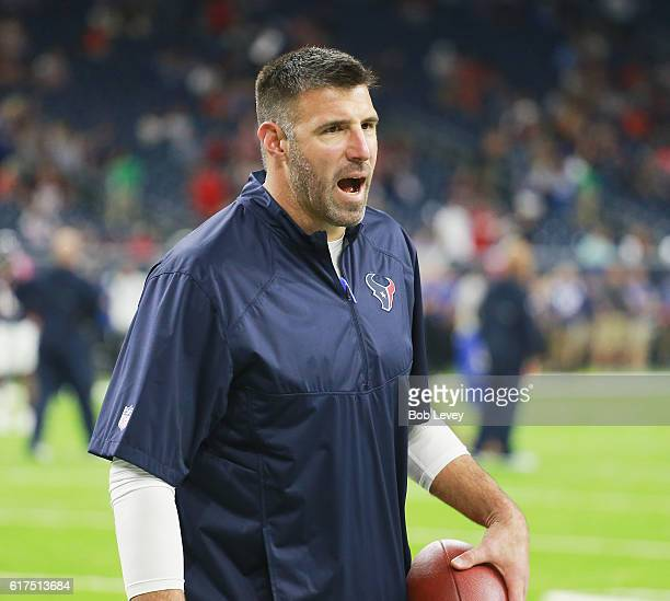 Linebacker coach Mike Vrabel at NRG Stadium on October 16 2016 in Houston Texas