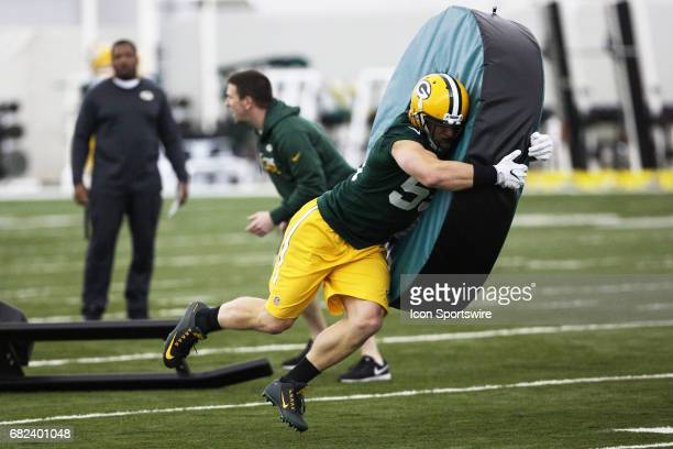 Linebacker Cody Heimen works on tackling during the Green Bay Packers rookie camp on May 5 2017 at the Don Hutson Center in Green Bay WI