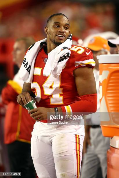 Linebacker Damien Wilson of the Kansas City Chiefs watches from the sidelines during the preseason game against the San Francisco 49ers Arrowhead...