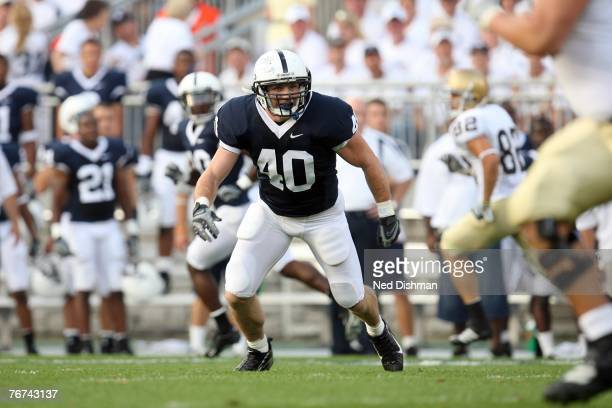 Linebacker Dan Connor of the Penn State Nittany Lions prepares to make a tackle against the University of Notre Dame Fighting Irish at Beaver Stadium...