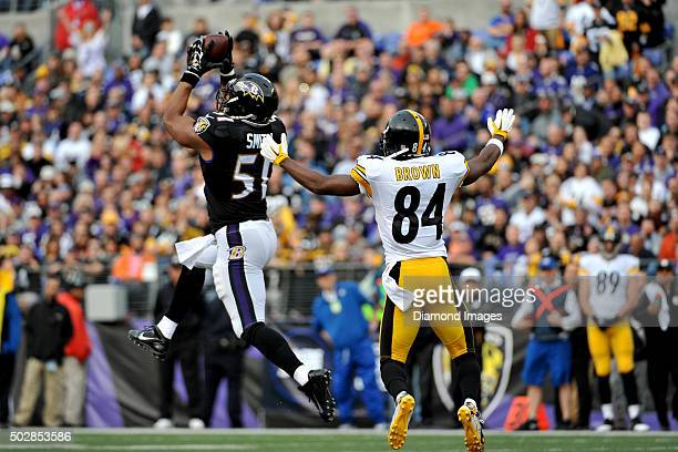Linebacker Daryl Smith of the Baltimore Ravens intercepts a pass in front of wide receiver Antonio Brown of the Pittsburgh Steelers during a game on...