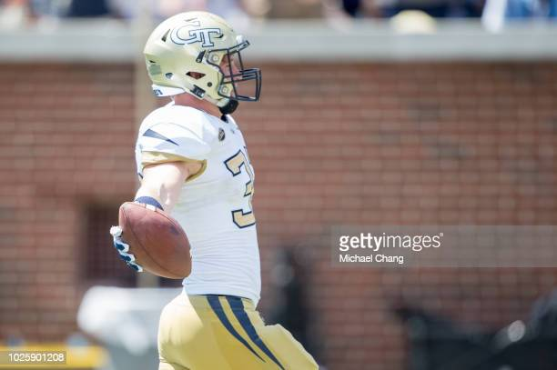 Linebacker David Curry of the Georgia Tech Yellow Jackets scores a touchdown during their game against the Alcorn State Braves at Bobby Dodd Stadium...