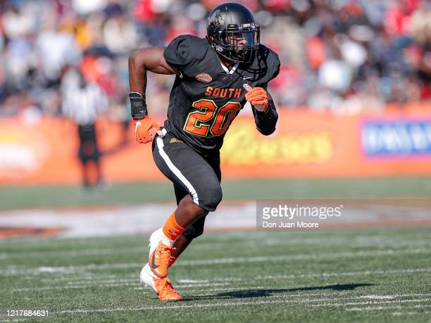 Linebacker Davion Taylor from Colorado of the South Team during the 2020 Resse's Senior Bowl at LaddPeebles Stadium on January 25 2020 in Mobile...