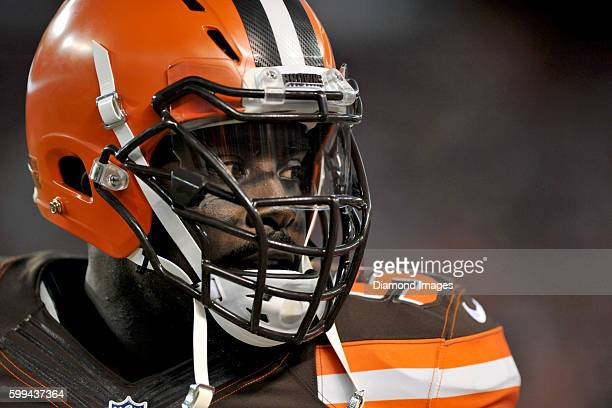 Linebacker Demario Davis of the Cleveland Browns walks along the sideline during a preseason game against the Chicago Bears on September 1 2016 at...