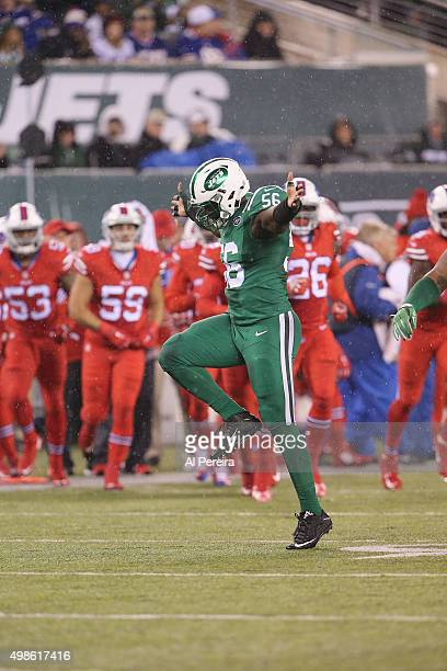 Linebacker Demario Davis of the New York Jets sacks Quarterback Tyrod Taylor of the Buffalo Bills at MetLife Stadium on November 12 2015 in East...