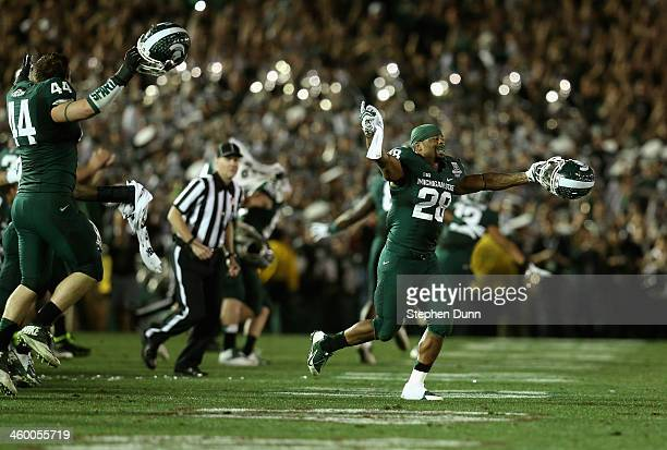Linebacker Denicos Allen of the Michigan State Spartans celebates after the Spartans defeat the Stanford Cardinal 2420 during the 100th Rose Bowl...