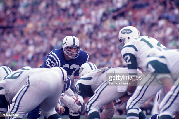 Linebacker Dennis Gaubatz of the Baltimore Colts gets ready for the snap of the ball during Super Bowl III on January 12 1969 against the New York...