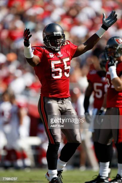 Linebacker Derrick Brooks of the Tampa Bay Buccaneers celebrates a play against the Arizona Cardinals at Raymond James Stadium on November 4 2007 in...