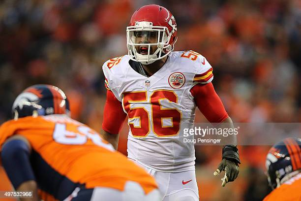 Linebacker Derrick Johnson of the Kansas City Chiefs defends against the Denver Broncos at Sports Authority Field at Mile High on November 15 2015 in...