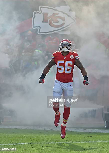 Linebacker Derrick Johnson of the Kansas City Chiefs gets introduced prior to a game against the Tampa Bay Buccaneers on November 20 2016 at...