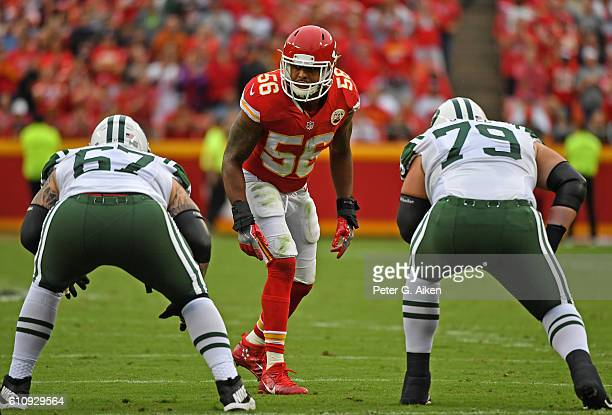 Linebacker Derrick Johnson of the Kansas City Chiefs gets set on defense against the New York Jets during the first half on September 25 2016 at...