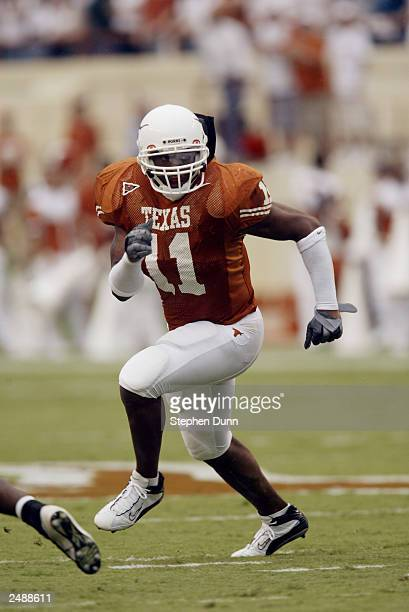 Linebacker Derrick Johnson of the University of Texas at Austin Longhorns runs during the game against the University of New Mexico Aggies at Texas...