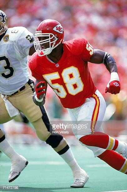 Linebacker Derrick Thomas of the Kansas City Chiefs runs on the field during a game against the New Orleans Saints at Arrowhead Stadium in Kansas...