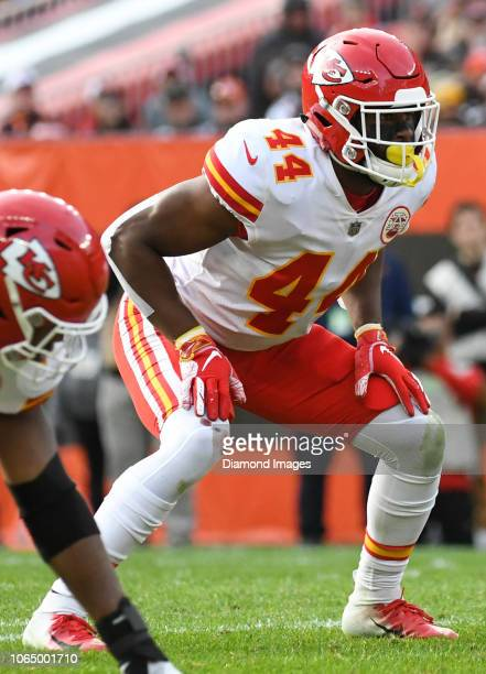 Linebacker Dorian O'Daniel of the Kansas City Chiefs awaits the snap in the third quarter of a game against the Cleveland Browns on November 4 2018...