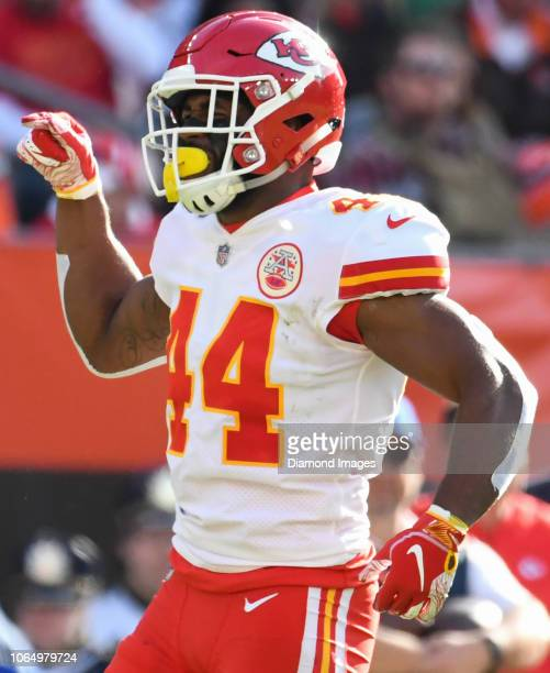 Linebacker Dorian O'Daniel of the Kansas City Chiefs celebrates a tackle in the second quarter of a game against the Cleveland Browns on November 4...