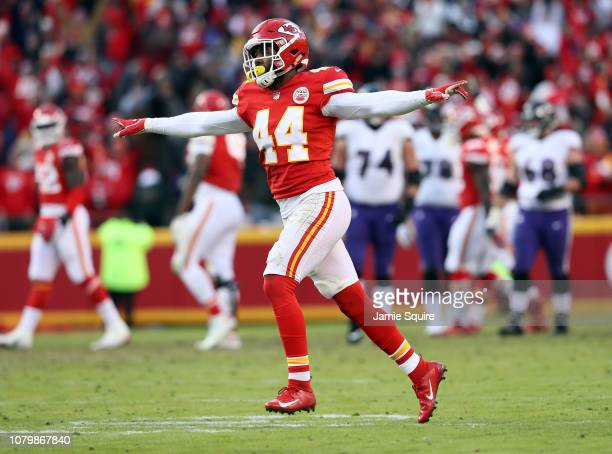 linebacker Dorian O'Daniel of the Kansas City Chiefs celebrates after the Chiefs defeated the Baltimore Ravens 2724 in overtime to win the game at...