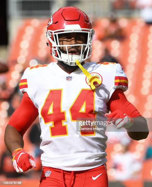 Linebacker Dorian O'Daniel of the Kansas City Chiefs on the field prior to a game against the Cleveland Browns on November 4 2018 at FirstEnergy...