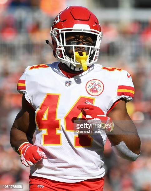 Linebacker Dorian O'Daniel of the Kansas City Chiefs runs downfield on a kickoff in the first quarter of a game against the Cleveland Browns on...