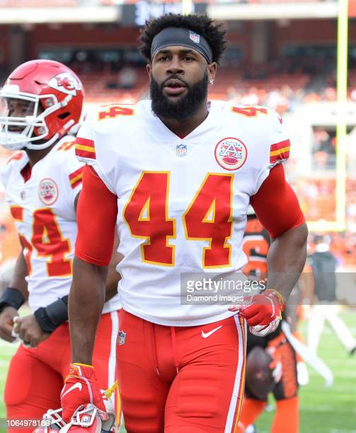 Linebacker Dorian O'Daniel of the Kansas City Chiefs runs off the field prior to a game against the on November 4 2018 at FirstEnergy Stadium in...