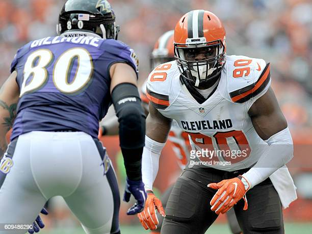 Linebacker Emmanuel Ogbah of the Cleveland Browns rushes off the line of scrimmage during a game against the Baltimore Ravens on September 18, 2016...