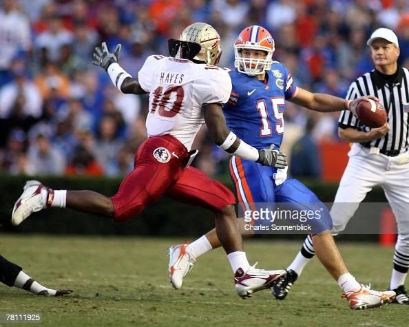 Linebacker Geno Hayes of the Florida State Seminoles tries ...