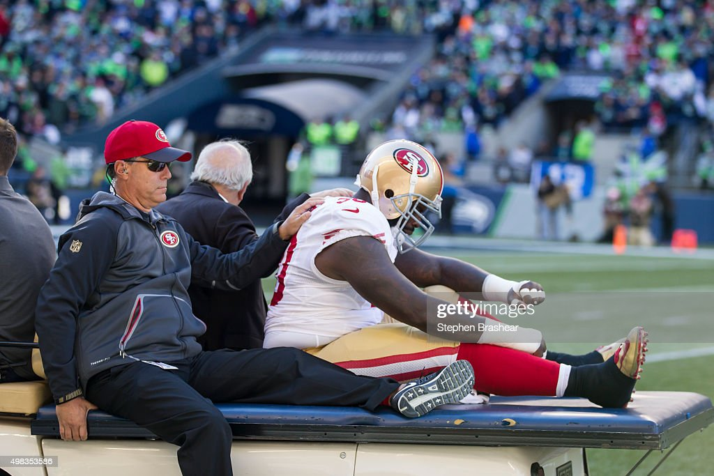 Linebacker Glenn Dorsey #90 of the San Francisco 49ers is carted off the field during the first half of a game against the Seattle Seahawks at CenturyLink Field on November 22, 2015 in Seattle, Washington. The Seahawks won the game 29-13.