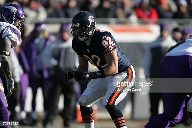 Linebacker Hunter Hillenmeyer of the Chicago Bears awaits the snap against the Minnesota Vikings on December 3 2006 at Soldier Field in Chicago...