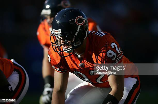 Linebacker Hunter Hillenmeyer of the Chicago Bears is seen on defense against the San Francisco 49ers October 29 2006 at Soldier Field in Chicago...