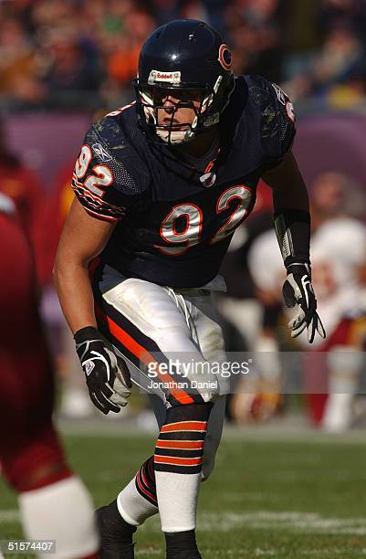 Linebacker Hunter Hillenmeyer of the Chicago Bears lines up on the field during the game with the Washington Redskins on October 17 2004 at Soldier...