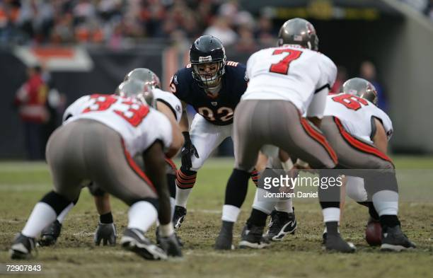 Linebacker Hunter Hillenmeyer of the Chicago Bears lines up on defense against the Tampa Bay Buccaneers December 17 2006 at Soldier Field in Chicago...
