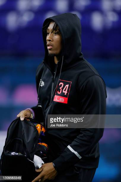 Linebacker Isaiah Simmons of Clemson looks on during the NFL Combine at Lucas Oil Stadium on February 29 2020 in Indianapolis Indiana