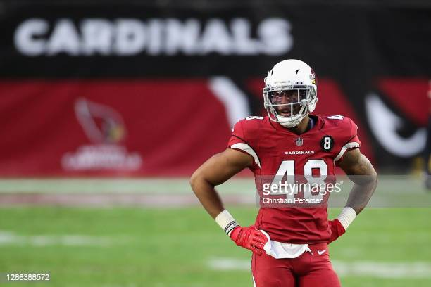 Linebacker Isaiah Simmons of the Arizona Cardinals during the NFL game against the Buffalo Bills at State Farm Stadium on November 15, 2020 in...