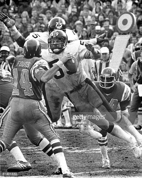 Linebacker Jack Ham of the Pittsburgh Steelers dives to block a pass by Dan Fouts of the San Diego Chargers during a game Jack Ham played for the...