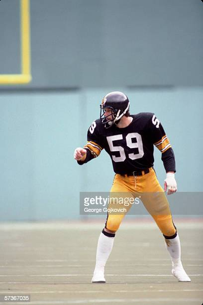 Linebacker Jack Ham of the Pittsburgh Steelers in action during a game at Three Rivers Stadium in October 1980 in Pittsburgh, Pennsylvania.
