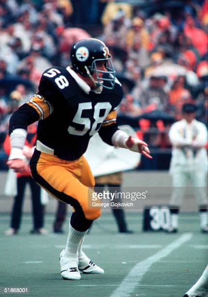 Linebacker Jack Lambert of the Pittsburgh Steelers covers the field in a game