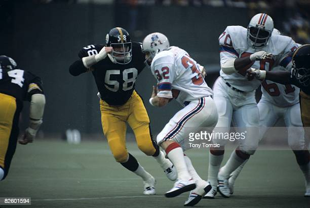 Linebacker Jack Lambert of the Pittsburgh Steelers during a game on September 26 1976 against the New England Patriots at Three Rivers Stadium in...