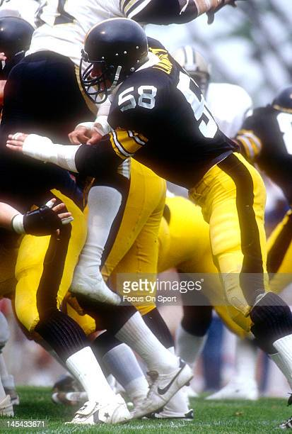 Linebacker Jack Lambert of the Pittsburgh Steelers in action against the New Orleans Saints during an NFL football game circa 1983 at Tulane Stadium...