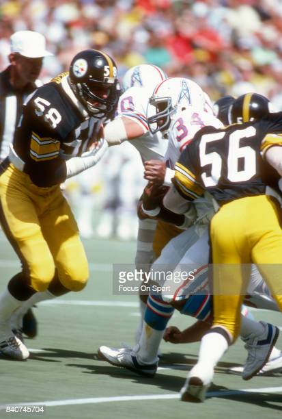 Linebacker Jack Lambert of the Pittsburgh Steelers in action against the Houston Oilers during an NFL football game September 7 1980 at Three Rivers...