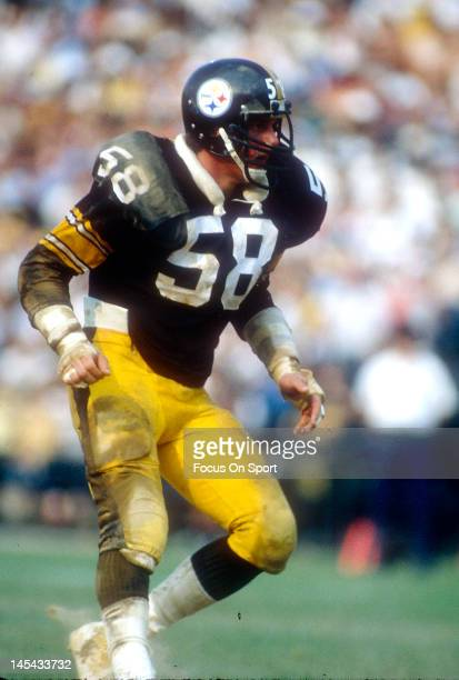 Linebacker Jack Lambert of the Pittsburgh Steelers in action during an NFL football game circa 1980 Lambert played for the Steelers from 197484