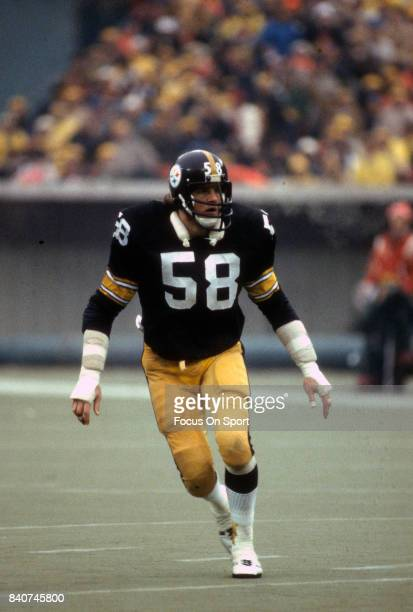 Linebacker Jack Lambert of the Pittsburgh Steelers in action during an NFL football game circa 1981 at Three Rivers Stadium in Pittsburgh...