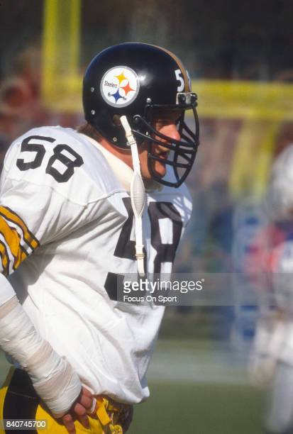 Linebacker Jack Lambert of the Pittsburgh Steelers looks on against the Baltimore Colts during an NFL football game November 13 1983 at Memorial...