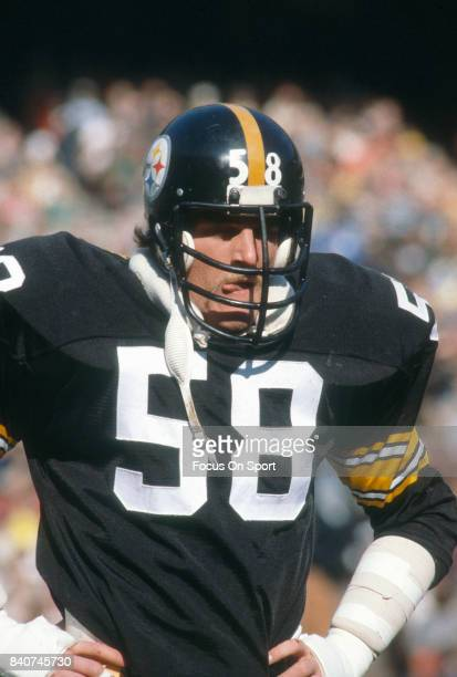 Linebacker Jack Lambert of the Pittsburgh Steelers looks on during an NFL football game circa 1981 at Three Rivers Stadium in Pittsburgh Pennsylvania...