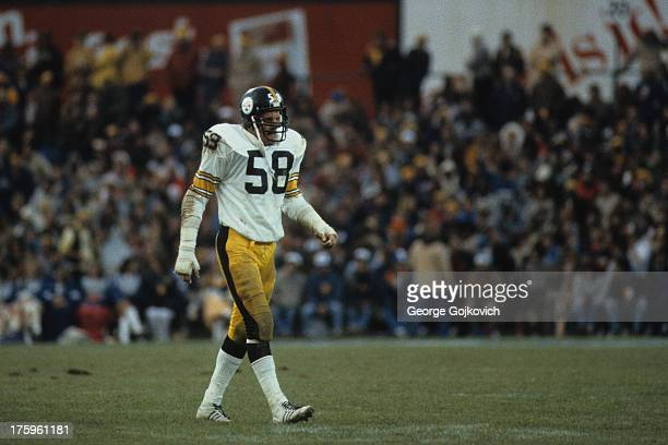 Linebacker Jack Lambert of the Pittsburgh Steelers looks on from the field during a game against the Baltimore Colts at Memorial Stadium on November...